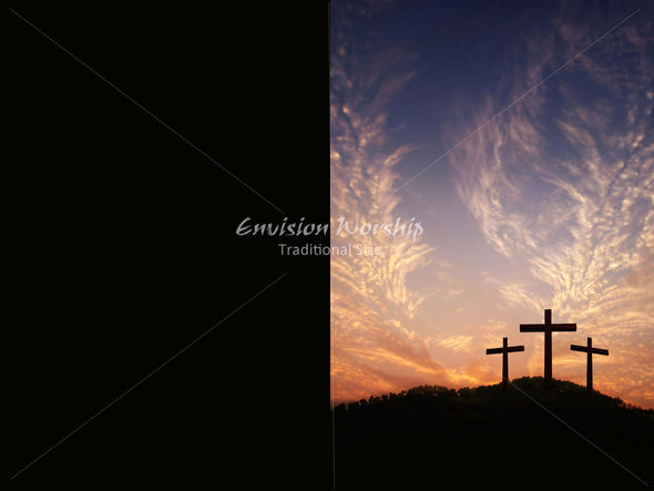 Three empty crosses Church PowerPoint