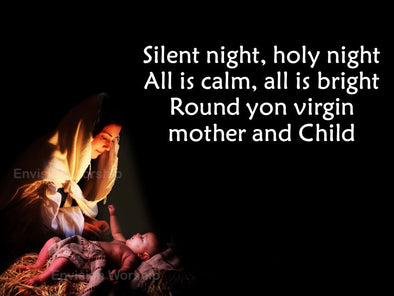 Silent Night lyrics and worship slides with Mary and baby Jesus
