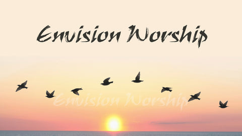Flying Free Church PowerPoint with birds soaring over a lake at sunset.