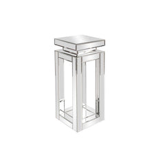 Howard Elliott Stainless Steel End Table With Black Top