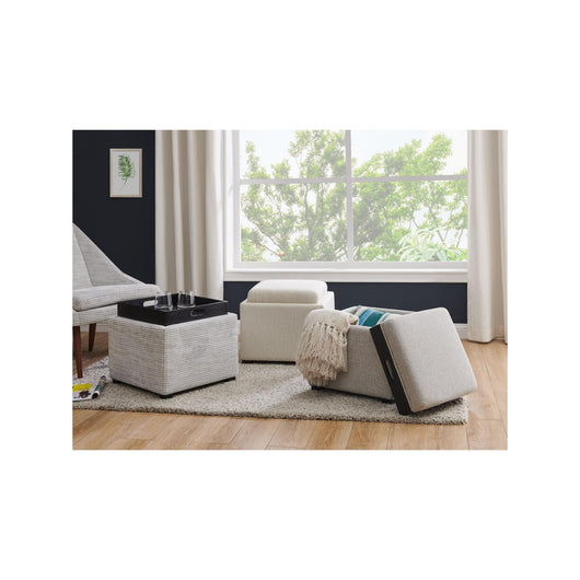 Cameron Square Fabric Storage Ottoman