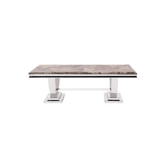 Howard Elliott Stainless Steel Coffee Table with Faux Marble