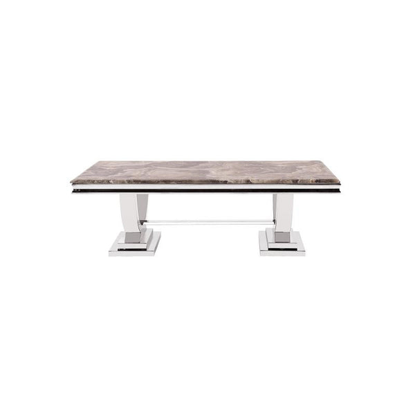 Howard Elliott Stainless Steel Coffee Table with Faux Marble Finish