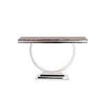 Howard Elliott Stainless Steel Console Table with Faux Marbl