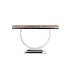 Howard Elliott Stainless Steel Console Table with Faux Marble Finish