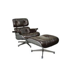 Grayson PU Lounge Chair and Ottoman - Aluminum