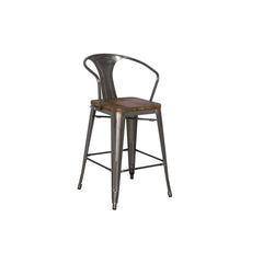 Metropolis Metal Counter Stool - Wood Seat- Set of 4