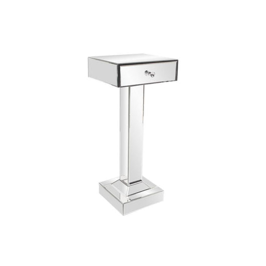 Howard Elliott Clear Mirrored Pedestal with Drawer