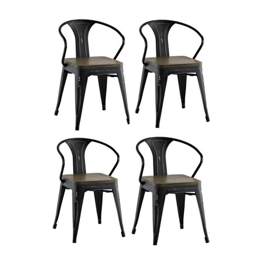 Aron Living Tolix Wood Seat Arm Chair - set of 4