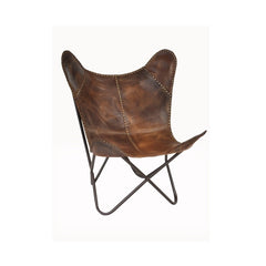 Leather Riveted Butterfly Chair