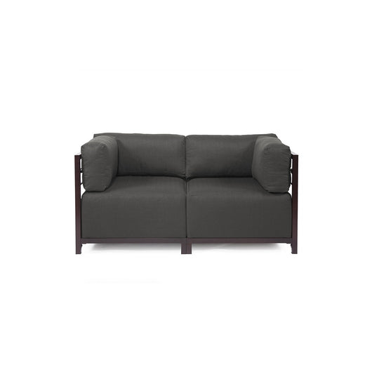 Howard Elliott Axis Loveseat - Sterling & Mahogany