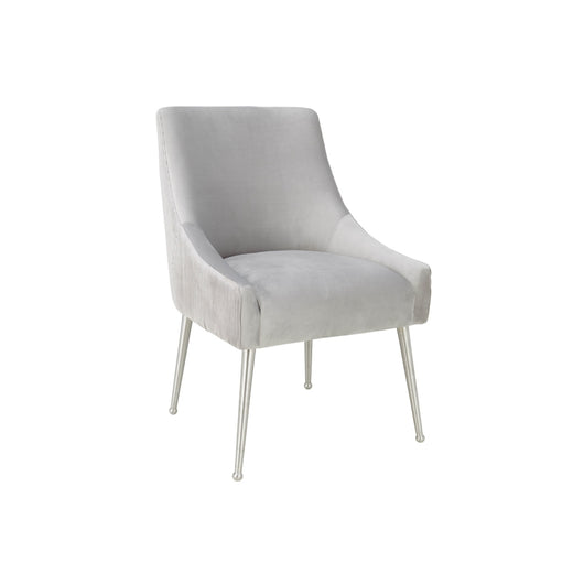 Beatrix Pleated  Velvet Side Chair - Silver   Legs
