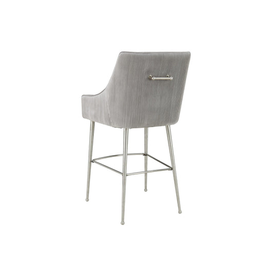 Beatrix Pleated Velvet Counter Stool - Silver Legs