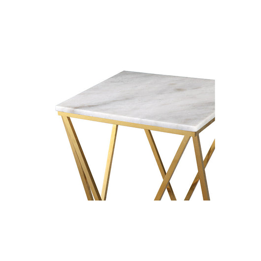 TOV Leopold White Marble Side Table