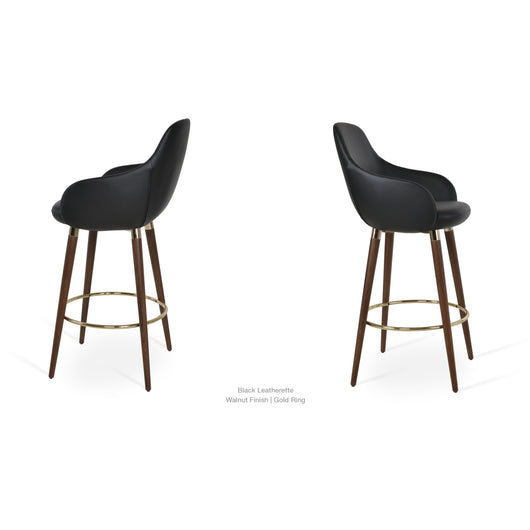 Sohoconcept Gazel Wood Arm Counter  Stool