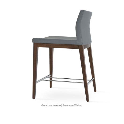 Sohoconcept Pasha Wood counter Stool - Low Back