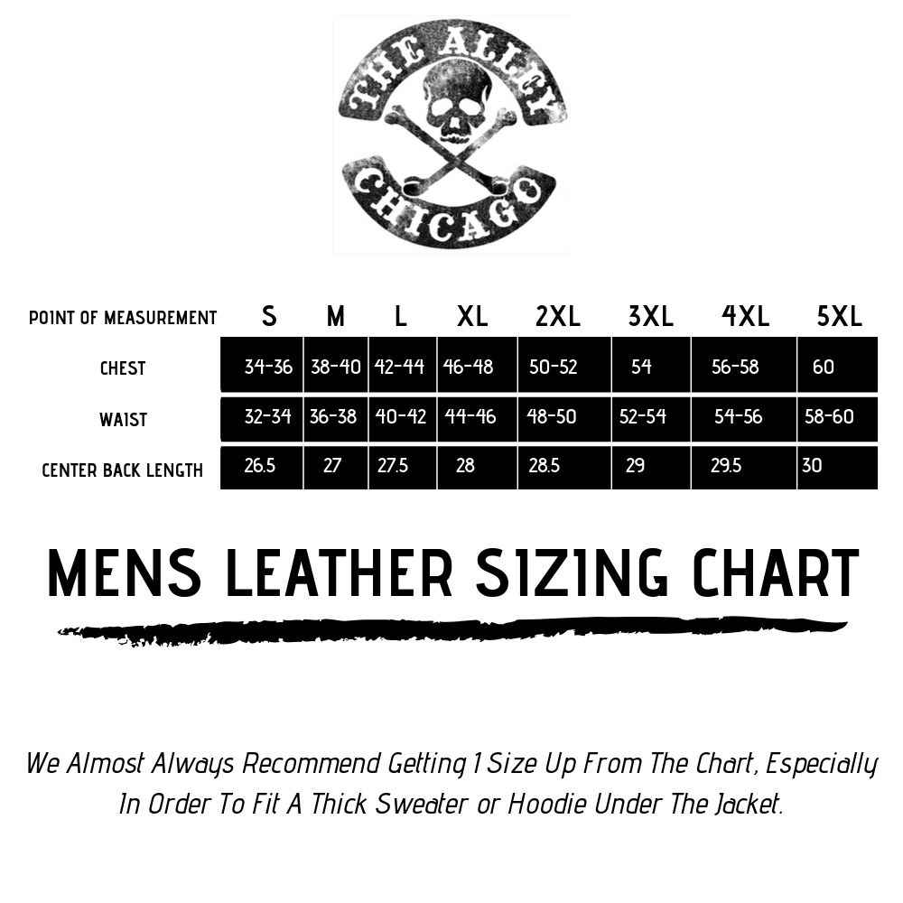 Mens Leather Sizing Chart | The Alley