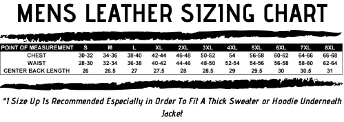Mens Leather Sizing Chart