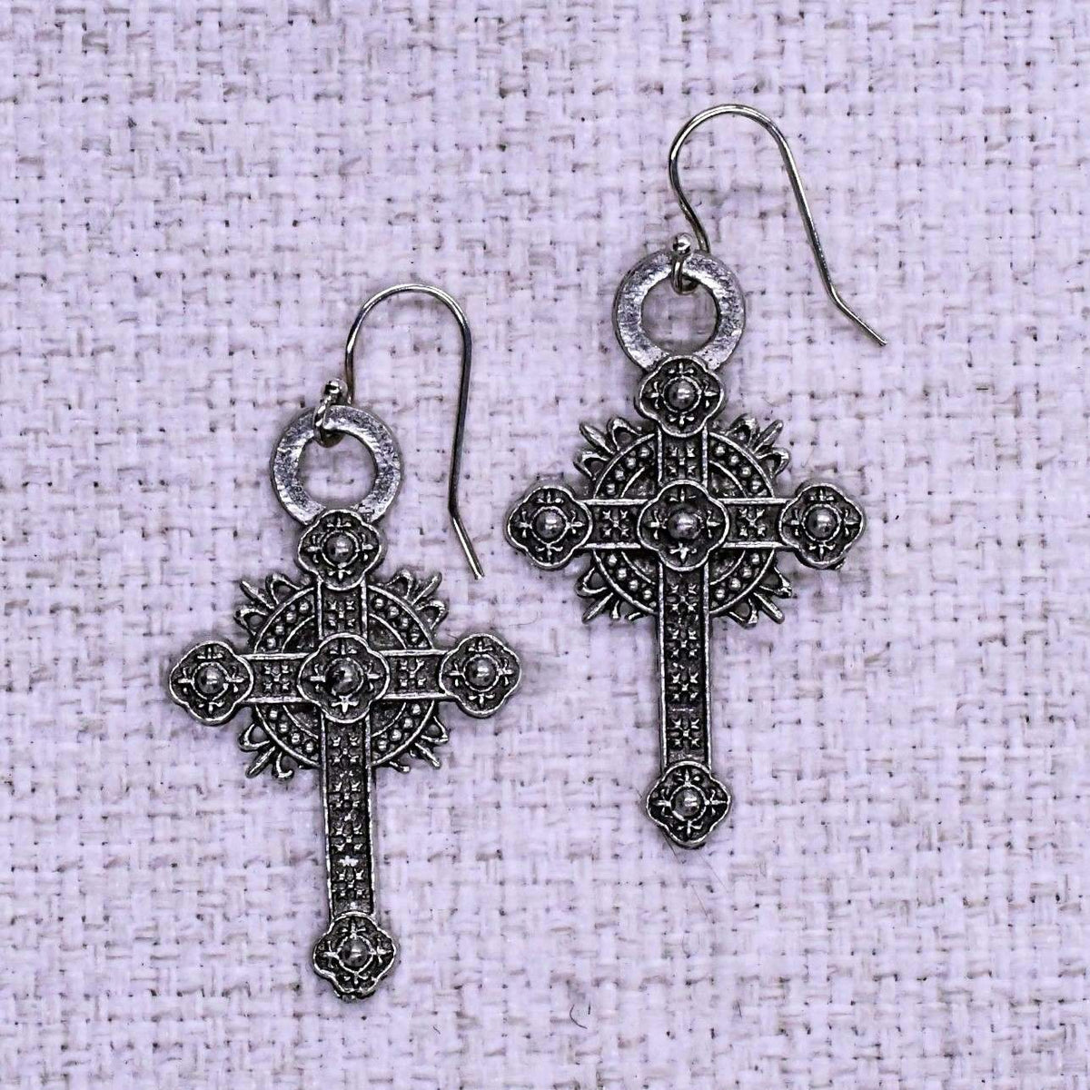 Ornate Cross Ear Rings
