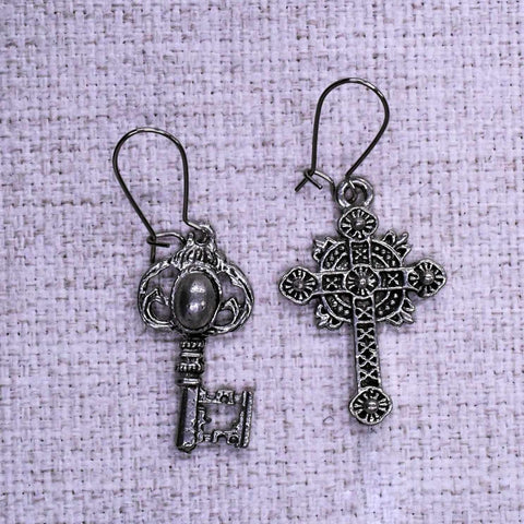 Ornate Cross and Key Mixed Ear Rings