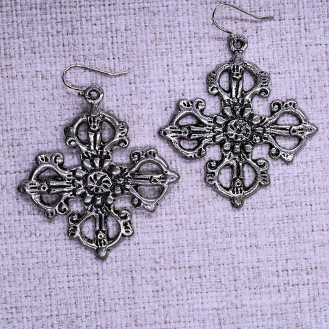 Small Ornate Cross Ear Rings