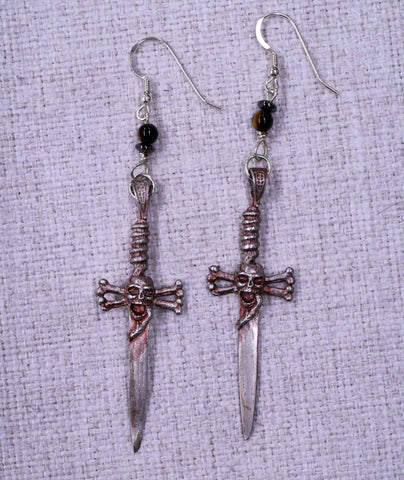 Skull Dagger Ear Rings