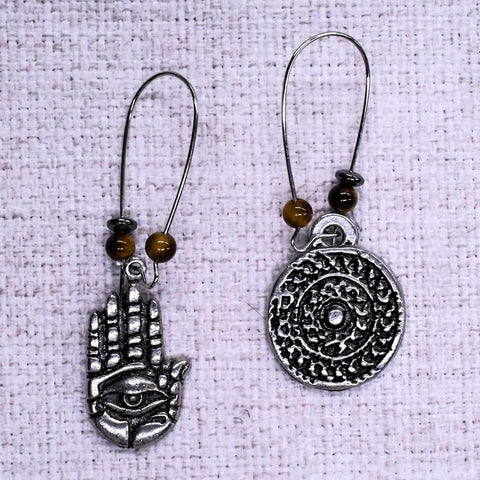 Hamsa Hand and Mandala Mixed Ear Rings