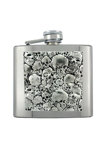 Pile of Skulls Chrome Flask - The Alley Chicago
