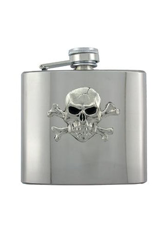 Skull & Crossbones Chrome Flask - The Alley Chicago