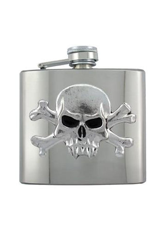 Vampire Skull & Crossbones Chrome Flask - The Alley Chicago