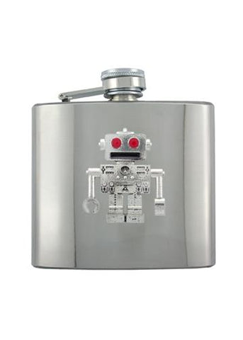 Retro Red Eye Robot Chrome Flask - The Alley Chicago