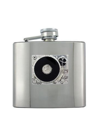 Record Player DJ Turntable Chrome Flask - The Alley Chicago