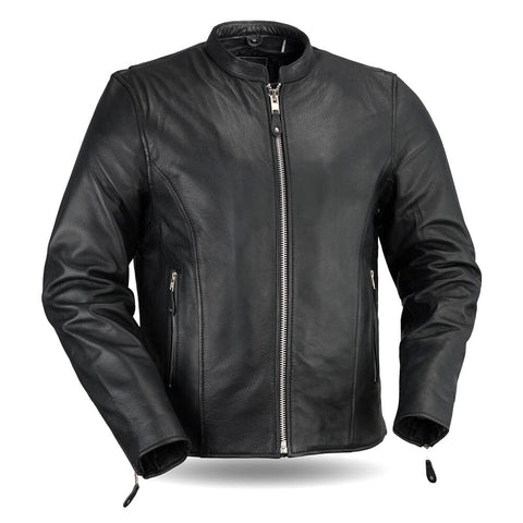 Classic Mens Cafe Style Leather Jacket Front