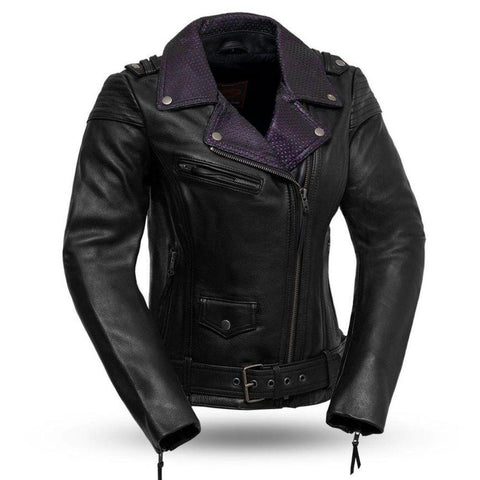Womens Leather Motorcycle Jacket with Purple
