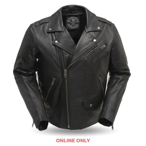 Enforcer Mens Leather Motorcycle Jacket