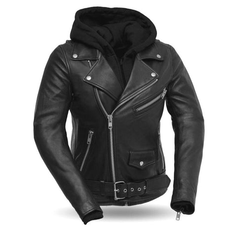 Leather Jacket with Removable Hoodie