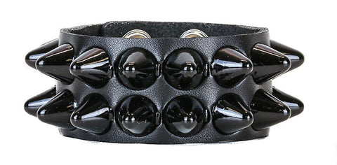 2 Row Black Cone Studded Bracelet