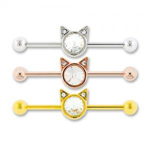 Adjustable Gold Plated Kitty Barbell