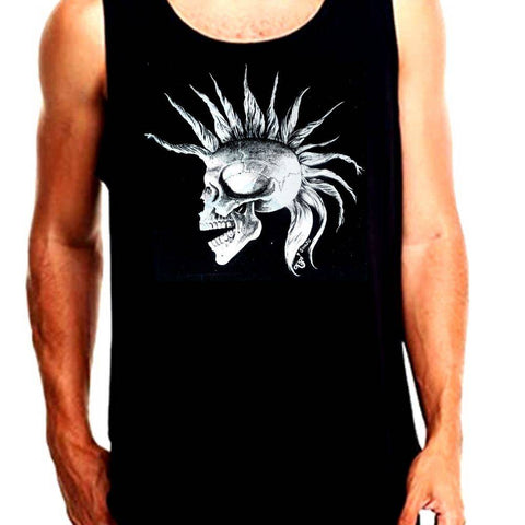 The Alley Punk Mohawk Skull Tank Top