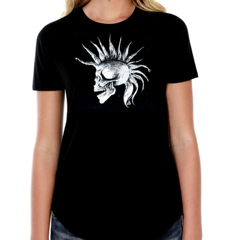 The Alley Punk Mohawk Skull Womens Tshirt