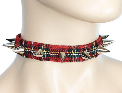 Red Flannel Studded Choker