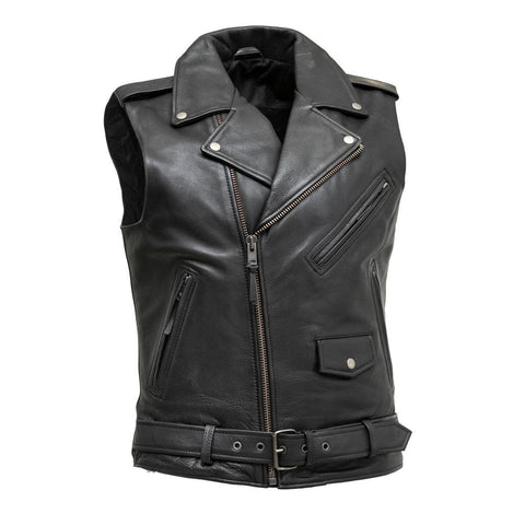 Classic Mens Leather Jacket Style Vest
