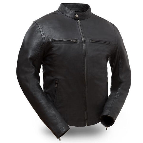 Snap collar leather motorcycle jacket
