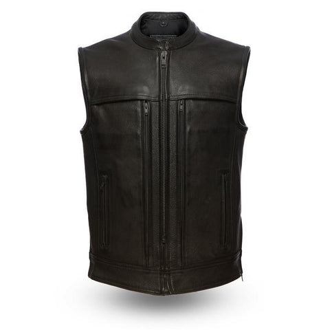 Rampage Premium All Black Leather Vest