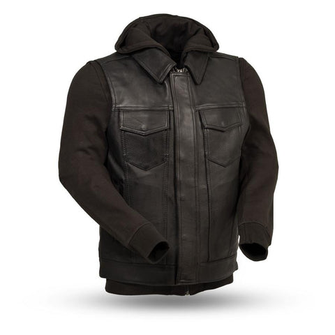 Kent Men's Motorcycle Leather Vest with Hoodie