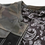 Limited Edition Mens Camo Leather and Canvas Club Vest