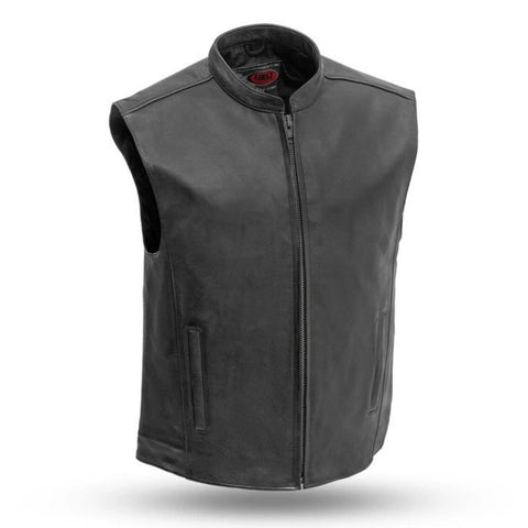 Mens Sleek Club Style Leather Vest With Banded Collar