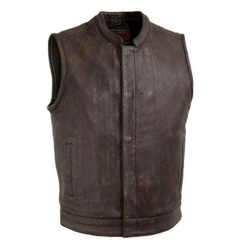 Mens Copper Club Style Leather Vest With Banded Collar