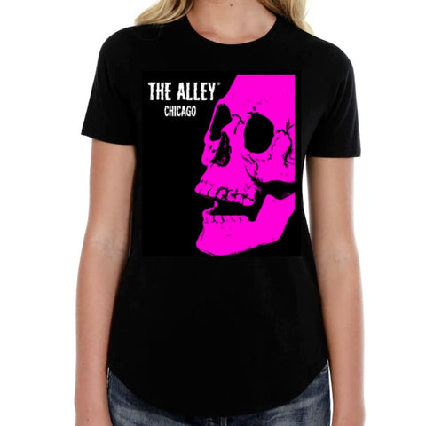 The Alley Pink Horror Skull Womens Tshirt