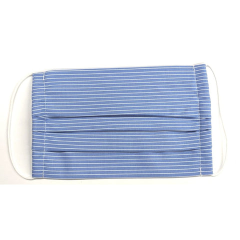Blue with White Pinstripe Cloth Face Covering